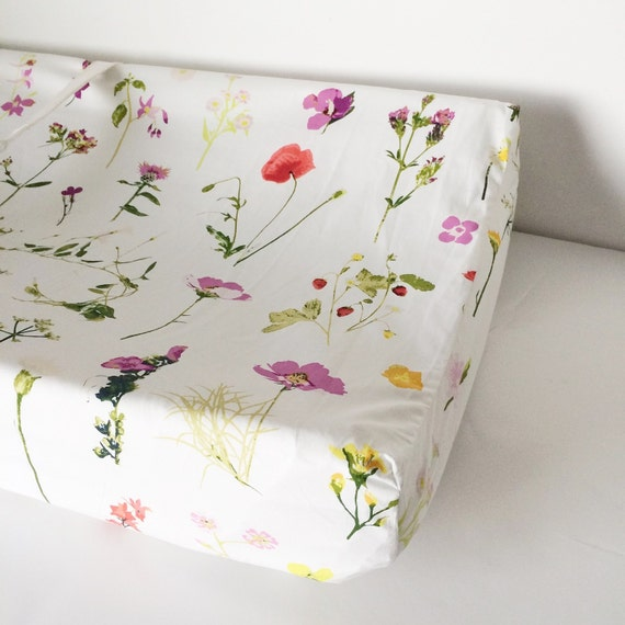 Fitted Crib Sheet - Floral Baby Bedding / Floral Crib Sheet / Mini Crib Sheets / Changing Pad Covers / Babiease Baby Boutique