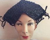 Vintage 1930s 1940s Hat Black Wool Felt Sequins
