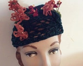 Vintage 1930s Hat Home Made Deep Blue Chenille Crochet Poppy Like Flowers Unique One Of A Kind