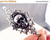 Skull gothic headband--oxidized aged sterling silver plated brass