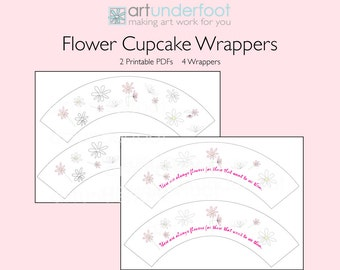 Cupcake Wrappers PDF Soft Summer Flowers