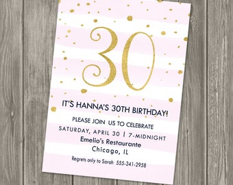30th Birthday Party Invitation - Pink and Gold - Birthday - Printable Party Invitation