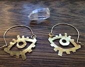 Eye shaped earrings, metal eye hoop earrings, eye hoops