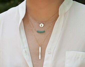 Layered Necklace,Three layered turquoise bar Monogram necklace,Layering Necklace,Personalized Layering Necklace Set,gemstone Necklace