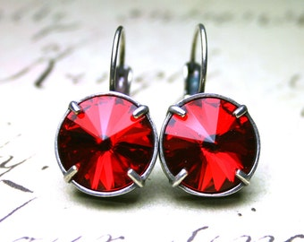 ON SALE - French Leverback Crystal Earrings In Siren Red - Swarovski Rivoli Stones In Antique Silver - Light Siam Red Round Crystal Earrings