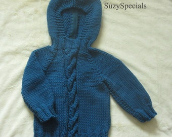 Hooded Knitted Baby Sweater in Ocean Blue