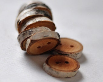 tree branch buttons • set of 12 birch wooden buttons  • wood button
