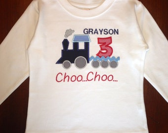 Embroidered - personalized Choo Choo train birthday shirt or bodysuit - choose long or short sleeves