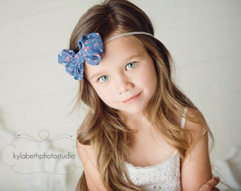 the Sophia- blue floral chiffon fabric bow attached to a skinny grey elastic headband, hair accessory