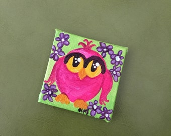 Pink Owl on Daisy Pattern Magnet, Mini Painting, 2x2 acrylic canvas magnet