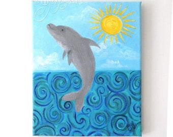 Dolphin Jump #3 original acrylic painting, 8x10 canvas art, whimsical art for home or office, beach art