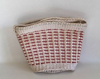 vintage wicket purse - PICNIC in the PARK red and white basket bag