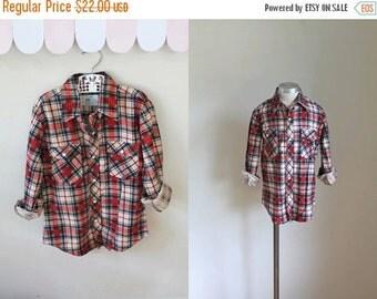 40% OFF back2school SALE vintage boy's plaid shirt - CABIN Plaid cotton flannel button down / 10-12yr
