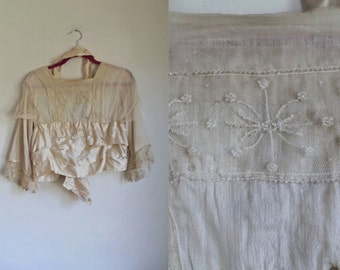 antique 1910s blouse - WHITE GOLD edwardian silk blouse / as is / XS