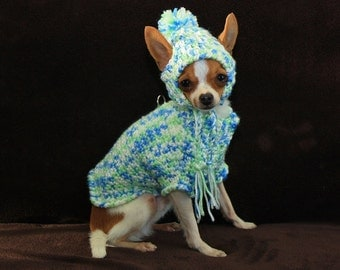 Harness Sweater and hat for small breed dog ( approx 2 to 5 lbs) white, light mint and blue