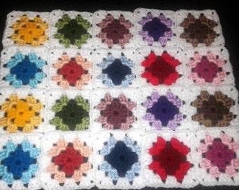 "20 Crochet  Granny Square Blocks for afghan - Multicolored White Border - 4"" X 4"""