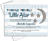 Twinkle twinkle little star baby shower invites | baby boy shower invitation moon and stars | printable or printed - WLP00710