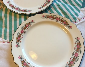 Vintage Bread and Butter 2 Piece Plate Set Flower Rim Lido White China W S George Made in The USA #3652