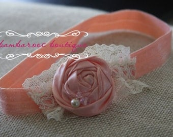 light pink baby headband, Newborn photography prop, petite vintage rosette on lace, newborn headband, vintage headband, vintage pink