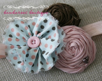 Pink Aqua Brown headband