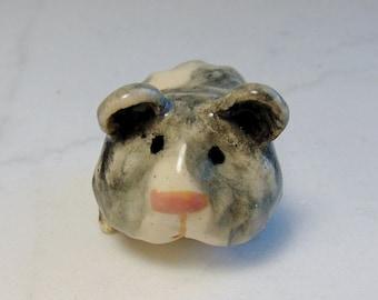 Teddy Bear Hamster -Miniature Hamster - Ceramic Figurine - Pottery Animal - Small Pet Figurine - Peggy Hamlin - Dalmatian Hamster - Gray