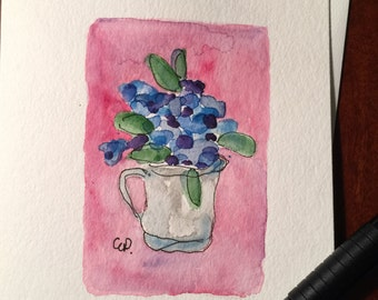 Cup of flowers watercolor card/ Hand Painted Watercolor Card