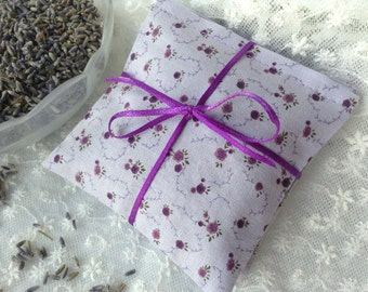 Lavender Sachet Set of 3, Organic French Lavender Buds, Dryer Sachets, Aromatherapy, Gift Set, Purple Floral Cotton Fabric