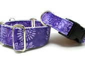 """Houndstown 1"""" Purple Batik Buckle or Martingale Collar, Any Size"""