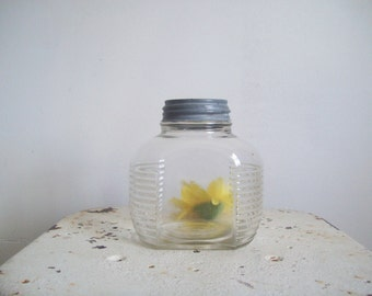 Vintage Hazel Atlas jar ribbed mottled flat sided coffee jar