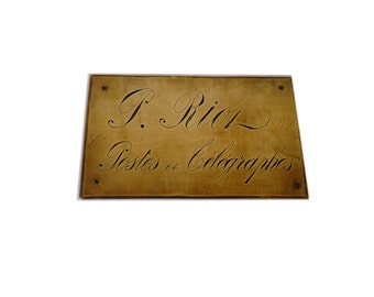Vintage French Sign Post and Telegraph Worker plaque, door sign, photo prop, brass, advertising, post office, la poste