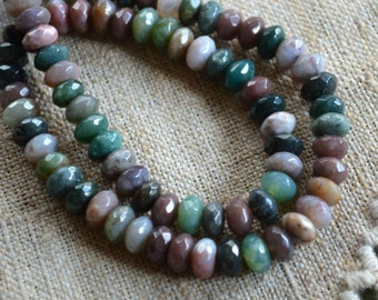 Fancy Jasper 10x8mm Faceted Rondelle 16 Inches Natural Gemstone Beads