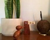Vintage Teak Wood Perpetual Desk Calendar