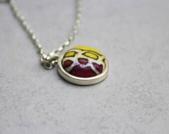 Batik fabric necklace, Fabric button necklace, Textile jewelry, Minimal necklace, Drop necklace, Sterling necklace, Dainty necklace