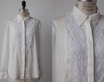 SALE 50% OFF Vintage Ralph Lauren White Blouse with Lace Yoke Tuxedo Oxford Shirt M