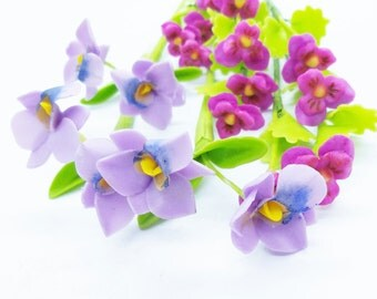 Miniature Polymer Clay Flowers Supplies Royal Purple Orchid and Pansy