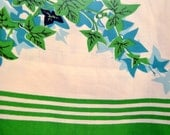 Vintage Linen Tablecloth, Dunmoy, Square, Ivy Pattern, Green, White, Black, Retro Kitchenalia, 1950s Home, Mid-Century, Retro Kitchen, 1960s