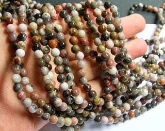 Petrified wood - 6mm round beads -1 full strand - 64 beads - AA quality - RFG569