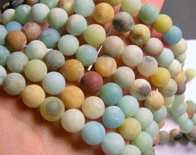 Amazonite 10mm round beads -1 full strand  matte - 38 beads - RFG777