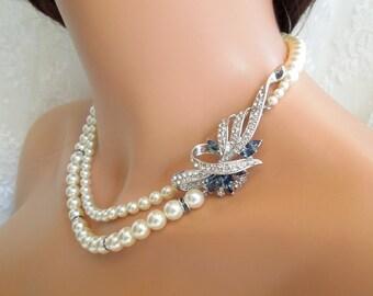 Ivory Swarovski Pearl Bridal necklace wedding rhinestone necklace pearl bridal necklace blue Swarovski crystal something blue necklace LACEY