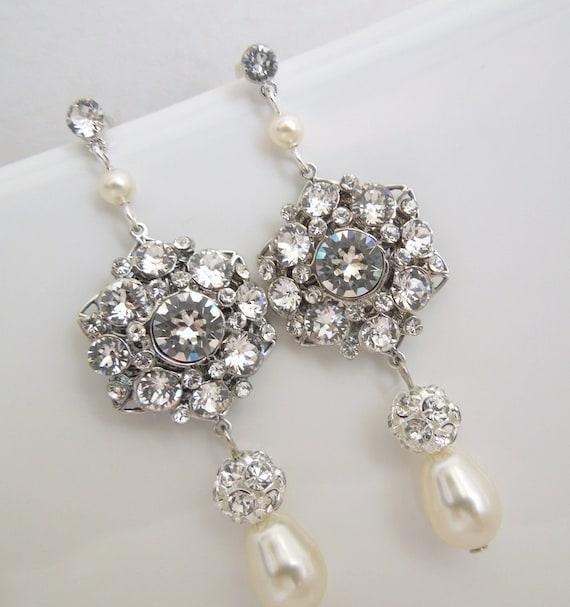 Ivory swarovski pearl Bridal Earrings Rhinestone Wedding Earrings Chandeliers Earrings swarovski pearl crystal teardrop earrings  SUSAN