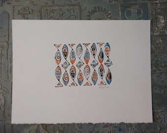 Fish Print hand colored in salmon  or rust and blue