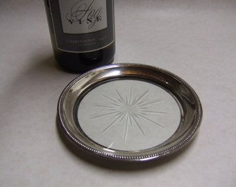 Sterling Wine Coaster - Etched Glass Starburst Center - Marked Frank Whiting Sterling - Beaded Edge - Large - Sterling Silver Coaster