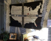 Long Distance Love, Cedar Plank USA Map, Large 24x36 Art, Hearts, Family Love, Cross Country Living