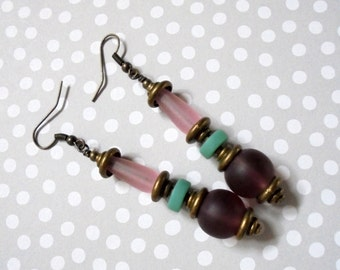 Pink, Purple and Teal Sea Glass Earrings (2735