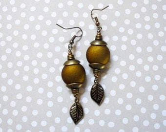 Brass and Olive Green Leaf Earrings (2971)