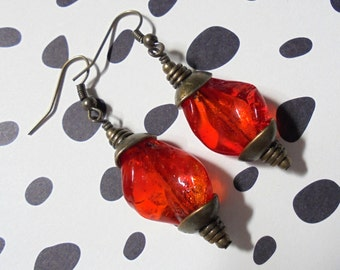 Red and Brass Twisted Glass Earrings (3103)
