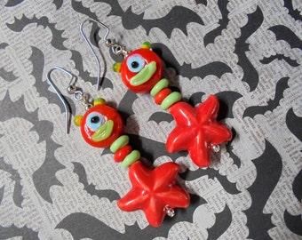 Red and Lime Alien Monster Starfish Earrings (2255)