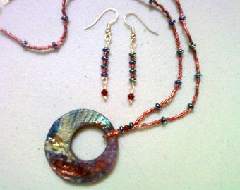 Raku Necklace and Earrings (0787)