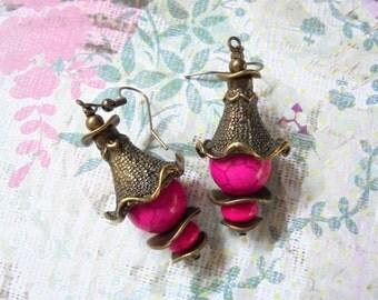 Pink Pagoda Earrings (2345)