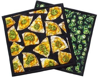 Jalapeno Pepper Nacho Hot Pad, handmade quilted potholder kitchen